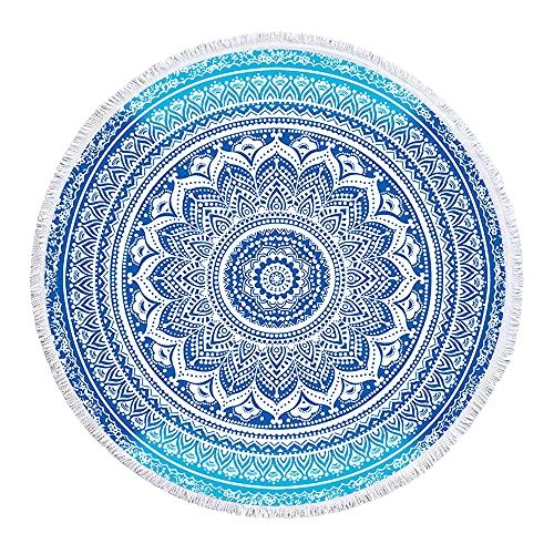 BELIFEGLORY Large Size 59 Inch Round Beach Towel for Women Girls Mandala Print Quick Dry Microfiber Beach Blanket with Tassels, Blue Mandala