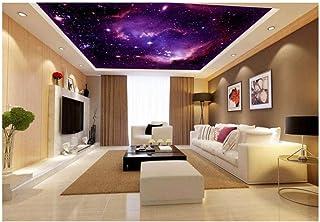 Fresco en el techo Decoración del hogar Murales en 3D Papel tapiz Nebulosa púrpura Fantasía Arte Frescos Cielo Wallpaper HD Decoración para