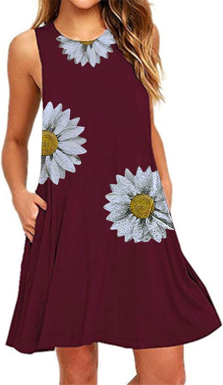 Oiumov Summer Dresses for Women, Women's Sleeveless Tank Sunflower Print Dress Casual Swing Sundress Loose Boho Dress