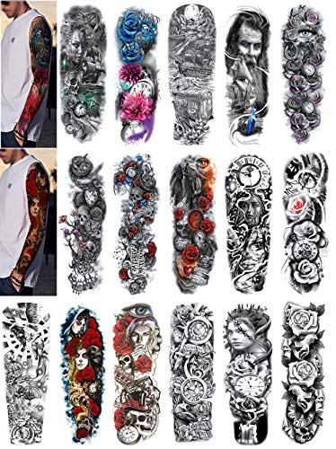 DaLin Temporary Tattoo Sleeves Full Arm Fake Tattoos for Women Men 16 Sheets (Pirate Ship, Pocket Watch Collection)