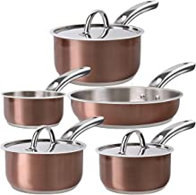 Dealz Frenzy Induction Cookware Set,Cooking Pot and Pan Set,Tri-Ply Stainless Steel Non-Stick Copper Pots, Rustproof & Oven & Dishwasher Safe, PFOA Free, FDA Halloween (Rose Gold)