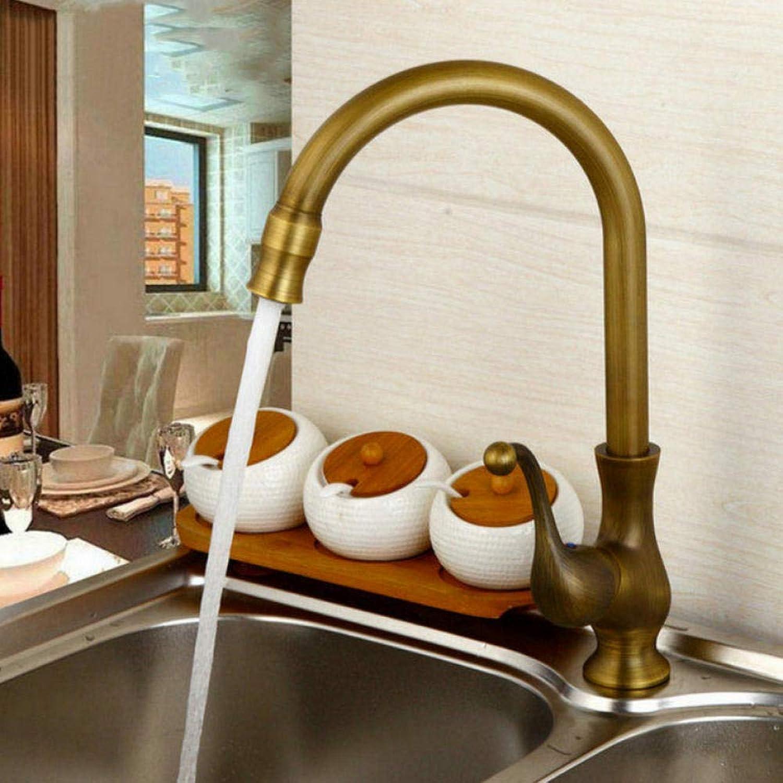 Hiwenr Küchenarmaturen Wasserhahn Antik Messing Schwenkauslauf Küchenarmaturen Einhand-Waschbecken Mischbatterie