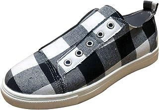 LILICHIC Carreaux Espadrilles Chaussures Femme Toile Chaussures Grande Taille Chaussures Mode Casual Respirant Confortable...