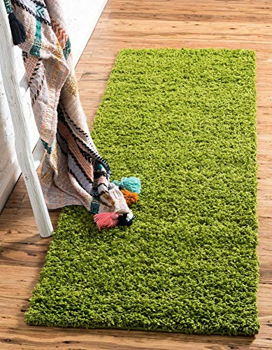 Unique Loom Solo Solid Shag Collection Modern Plush Grass Green Runner Rug (2' 2 x 6' 5)