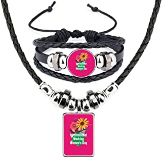 International Working Women Day Leather Necklace Bracelet Jewelry Set