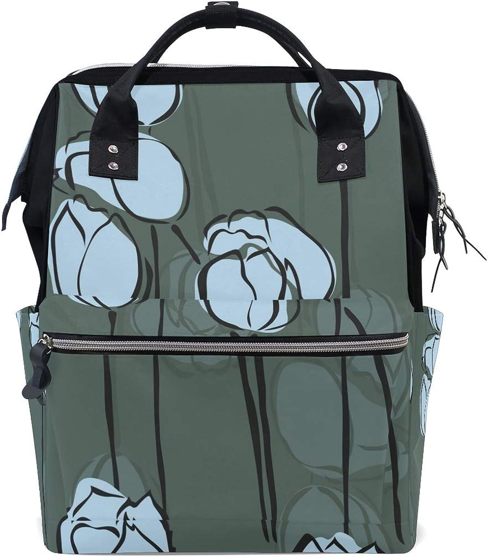 MONTOJ Ink Lotus Bud Painting Canvas Travel Bag Campus Backpack