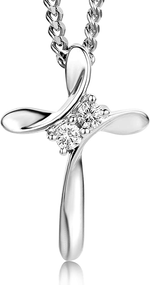 Orovi collana con pendente  in oro bianco con diamanti taglio brillante ct 0.05 oro 9 kt / 375 OR8993N
