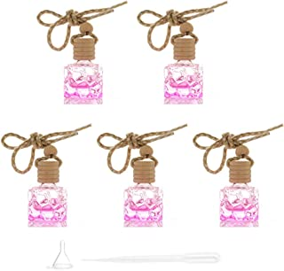 Car Essential Oil Diffuser 5 Packs Square Empty Glass Perfume Bottle Car Hanging Diffuser Bottle Air Freshener Fragrance A...