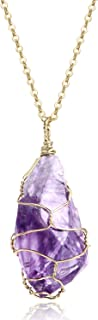 Full Wire Wrap Raw Amethyst Stone Pendant Necklace Natural Healing Chakra Crystals for Women