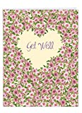 The Best Card Company - Big Floral Get Well Soon Card (8.5 x 11 Inch) - Flowers, Feel Better Greeting - Heartfelt Thanks J6578HGWG