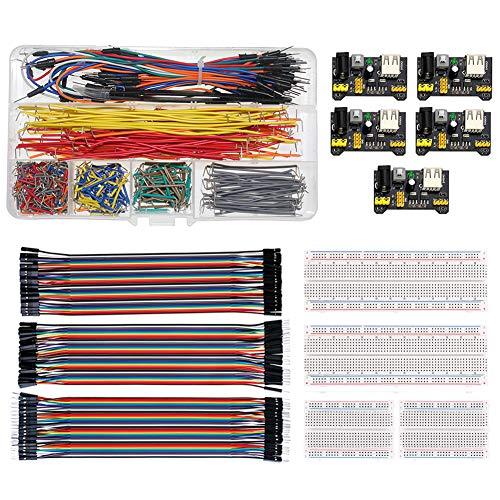 WayinTop Breadboard Jumper Filo Kit con Modulo di Alimentazione per Arduino, Jumper Wires Assorted Kit + 3pcs 20CM 40Pin Jumper Filo + 4pcs Breadboard + 5pcs Modulo di Alimentazione