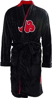 Obtai Mens Akatsuki Uchiha Itachi Robe Kimono Pajamas Cloak Casual Knee Length Bathrobe Sleepwear Cosplay Costume