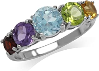 5 Stone Natural Citrine Peridot Blue Topaz Amethyst and Garnet 925 Sterling Silver Ring