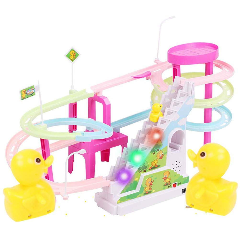 Yellow Duck Electric Light Music Slide Rail Escalera Toy, Yellow Duck Climb Stair Toy, Duck Race Toy Slide Slide Adventure Toy Entertainment Escalada Escalera Rail: Amazon.es: Hogar