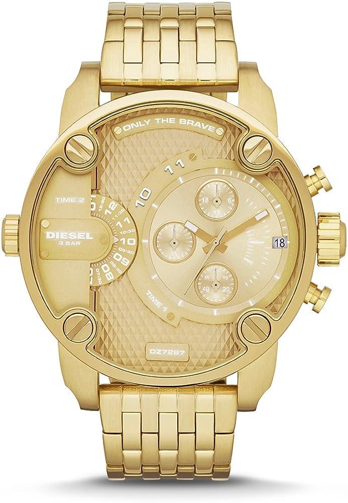 Diesel,orologio,cronografo da uomo,in acciaio con  finitura lucida e satinata in tonalità gold DZ7287
