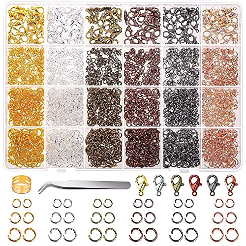 Kudiro 2340 piezas de collares y kits de reparación de joyas Kits de fabricación de joyería joyería con cuentas conjunto de anillos de salto abierto y cierre de langosta