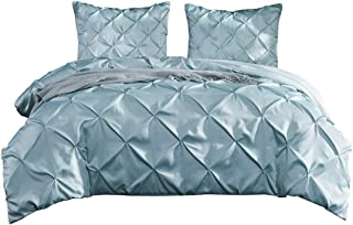 Kokolife Pintuck Duvet Cover Set 3PC Luxury Silky Satin Mint Blue Bed Cover Queen/King Size Solid Tuffed Pinch Pleat Bedding Set(Powder Blue, King)