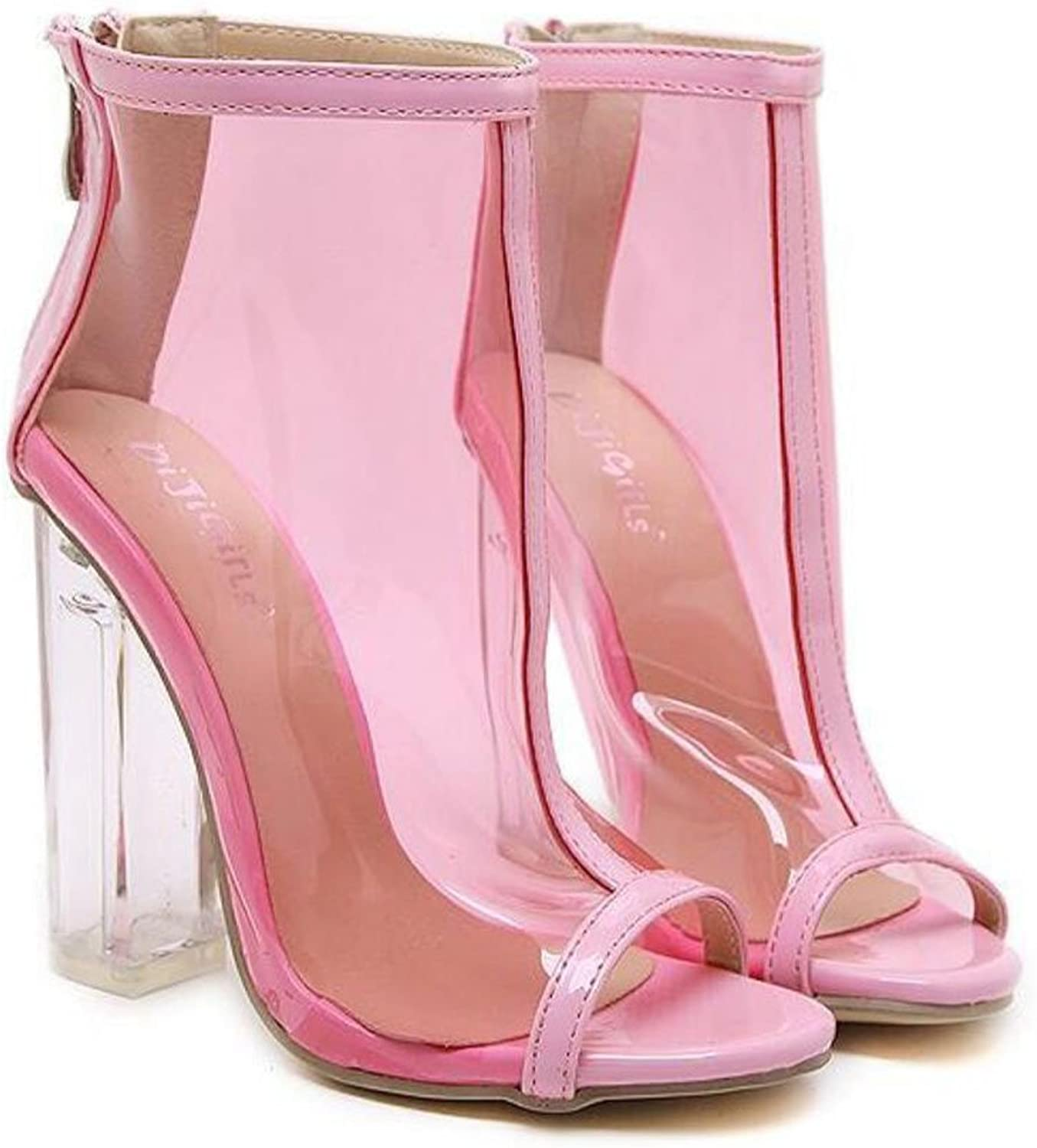 LZWSMGS Plastic Women's shoes Fashion Jelly Transparent High-Heeled Nude Boots Sandals Wild High-Heeled shoes Pink 35-40cm Ladies Sandals (color   Pink, Size   6 US)