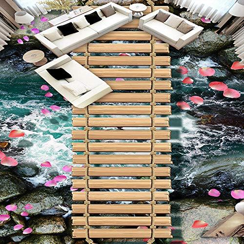 Papel pintado personalizado Murales de suelo 3D Puente de madera y suelo de agua que fluye Mural de pared Cuarto de baño Papel de pared autoadhesivo impermeable-150 * 105cm