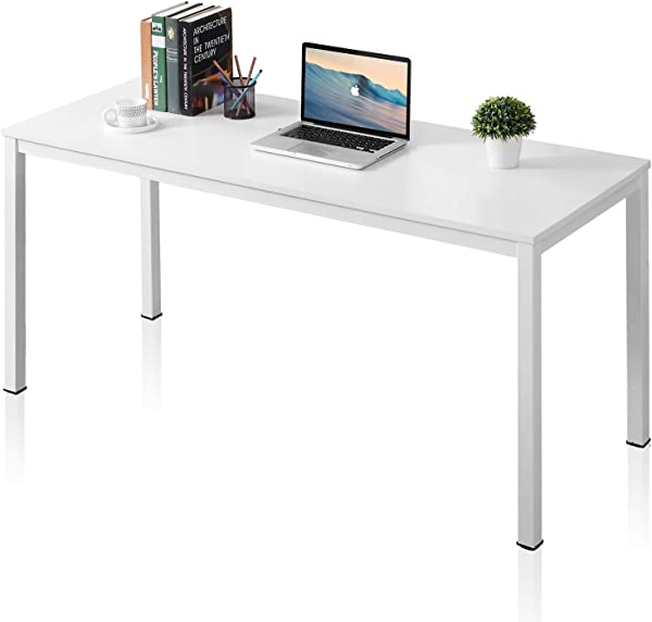 AUXLEY Modern Simple Computer Desk For Home Study Waterproof And Anti Scratch Double Deck Wood And Metal Office Table 60 White