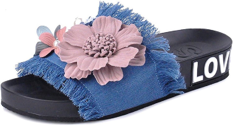 Btrada Women's Denim Sandals-Summer Non-Slip Open Toe Flats-Handmade Flowers Slides