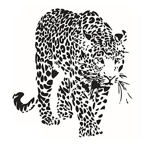 Winhappyhome Leopard Art Stickers muraux pour Chambre Salon Café fond amovible Décoration Stickers