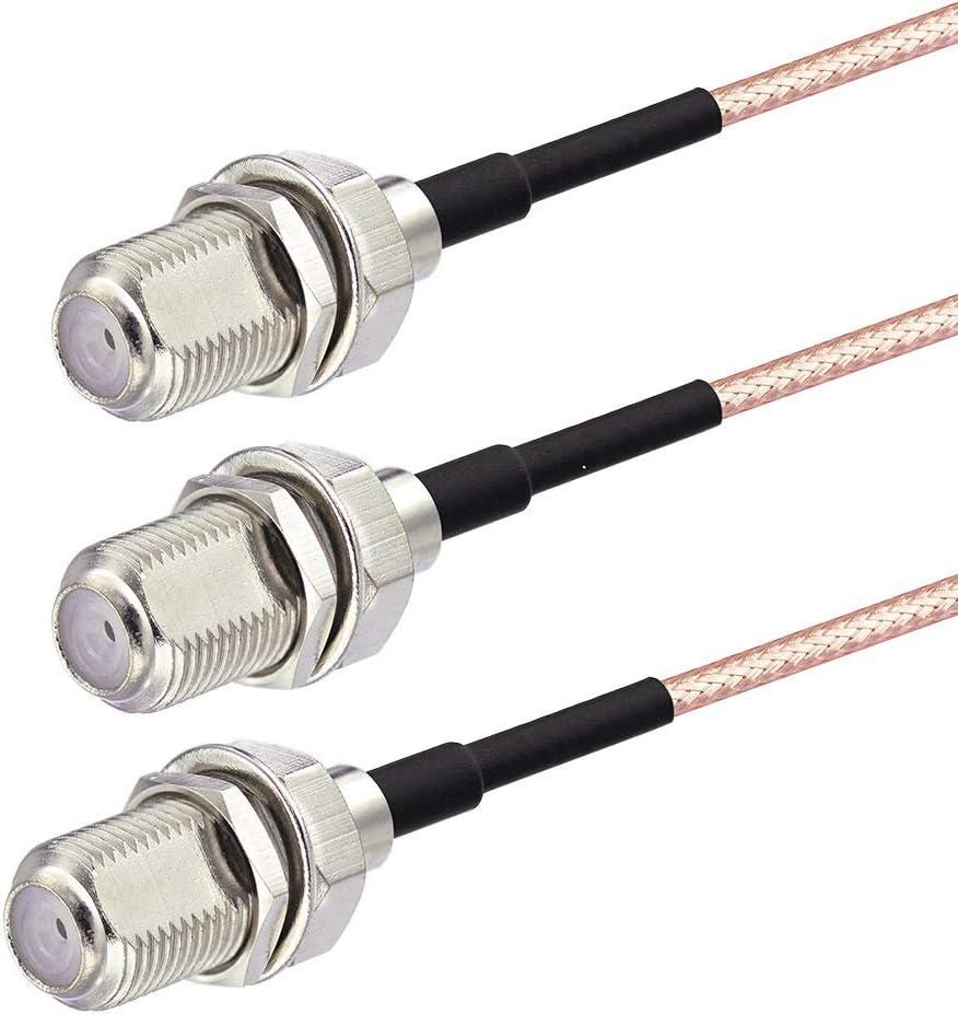 SUPERBAT F Type Splitter Cable F Female to F Dual Female Coax Splitter Cable Y-Type TV Splitter Cable Satellite 3-Way Female 50ohm 15cm(6 inches)