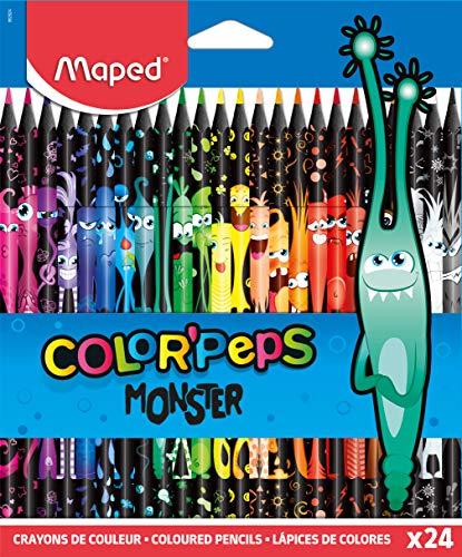 MAPED Color'Peps Monster-24 Coloriage Fun et Originaux-Couleurs Vives et Mine Résistante-Pochette de 24 Crayons Décorés MONSTRE en Résine, 862624
