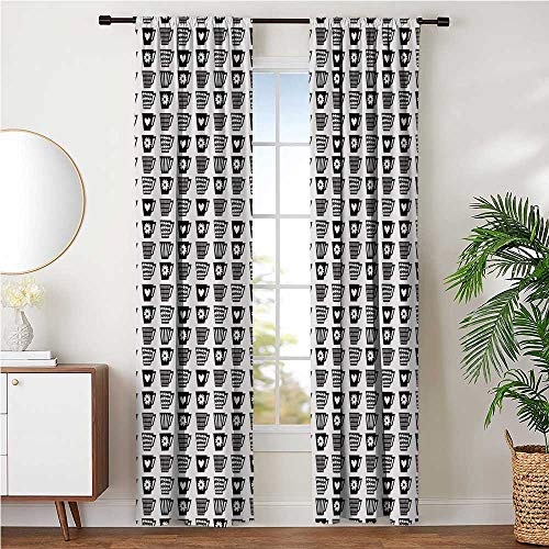 Window Curtains Soundproof for Night Shifts Late Sleepers, Mid Century Modern Repeating Pattern Various Motifs on Coffee Cups Print W108 x L108 Inch, Charcoal Grey and White