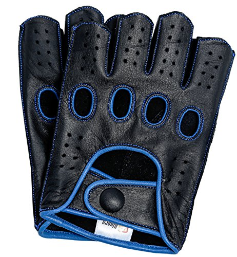 Riparo Mens Genuine Leather Reverse Stitched Fingerless Half-Finger Driving Motorcycle Gloves (X-Large, Black/Blue)