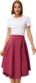 Belle Poque Women High Waisted Flared A-Line Skirt With Pockets BP473