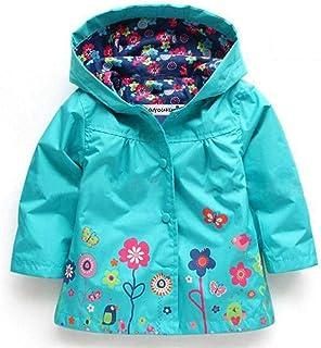 Nobrand Girls Jackets Children Outerwear Hooded Girls Coats Casual Windbreaker for Girls Waterproof Raincoat Kids Clothes Blue