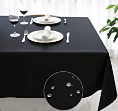 SANBOLI Tablecloth,Rectangle Table Cloth (Black-60x84 inch) Water-Proof Spill-Proof Stain Resistance,Washable Tablecloths ...