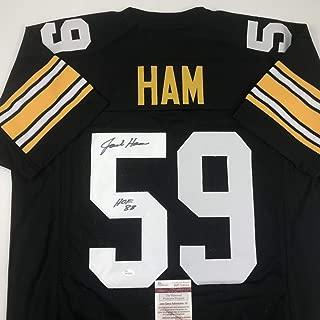 Autographed/Signed Jack Ham HOF 88 Pittsburgh Black Football Jersey JSA COA