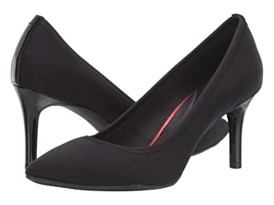 Rockport 75 mm Total Motion Pointy Toe Gore Pump (Black Elastic) Women