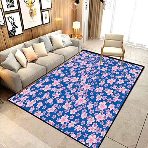 House Decor Collection Bathroom mats and Rugs Indoor Outdoor Rugs Floral Classic Fabric Design Style Art Bloom Natural Lawn Backyard Cheering Image for Home Kids Bedroom Dormitory Blue Pink Purple