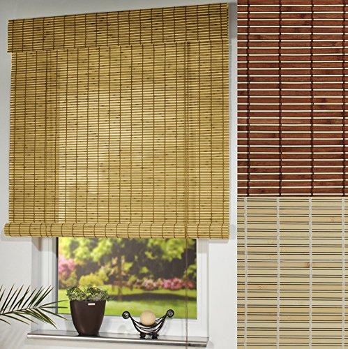 Garduna Wood Rollo - Holz # Natur 100 x 170cm # Holzrollo mit Seitenzug - Sichtschutz