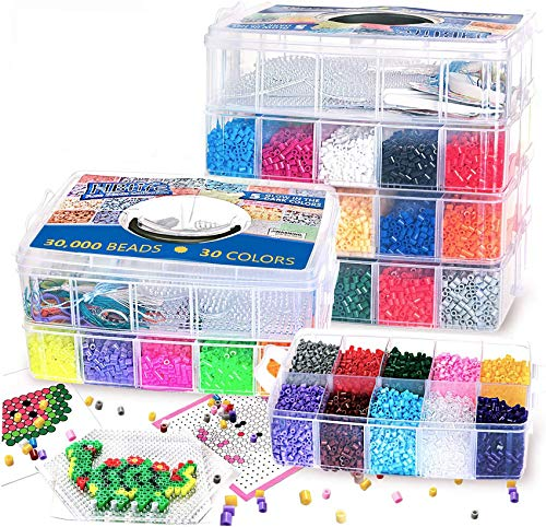 30,000 pcs Fuse Beads Kit 30 Colors 5MM for Kids, Including 10 Ironing Papers,48 Patterns, 7 Clear Pegboards, Tweezers, Perler Beads Compatible Kit