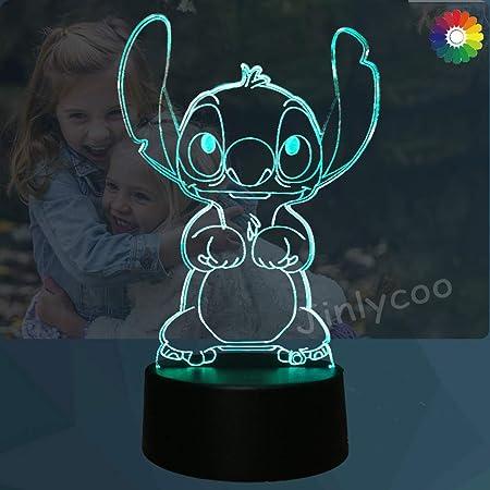 Lampe Lilo & Stitch,Veilleuse de dessin animé 3D Princesse Lampe de chevet de chambre USB Télécommande Multicolore Lampe de bureau Illusion Décor de chambre de bébé Cadeau doux pour fille(Cute Stitch)