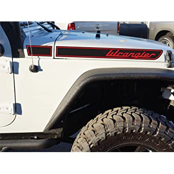 The Pixel Hut gs00284 Matte Black Sahara Hood Decals for Jeep Wrangler JL 2018 to Present