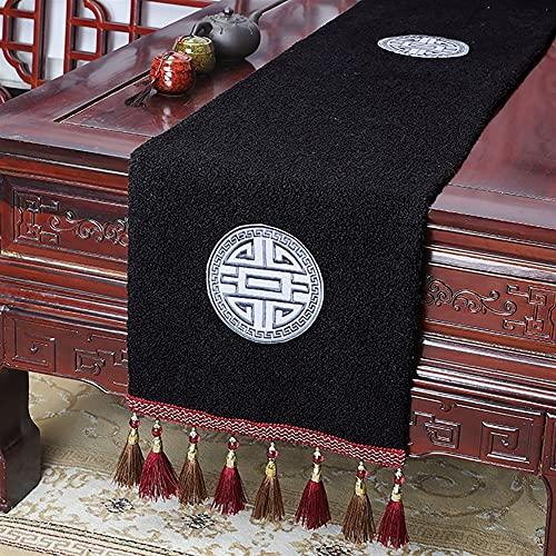 LDGF Camino de mesa beige crema hecha a mano tejido hogar cocina decoración boda regalo borla cama camino mesa paño con borlas camino mesa silla boda boda decoración mesa mesa mesa