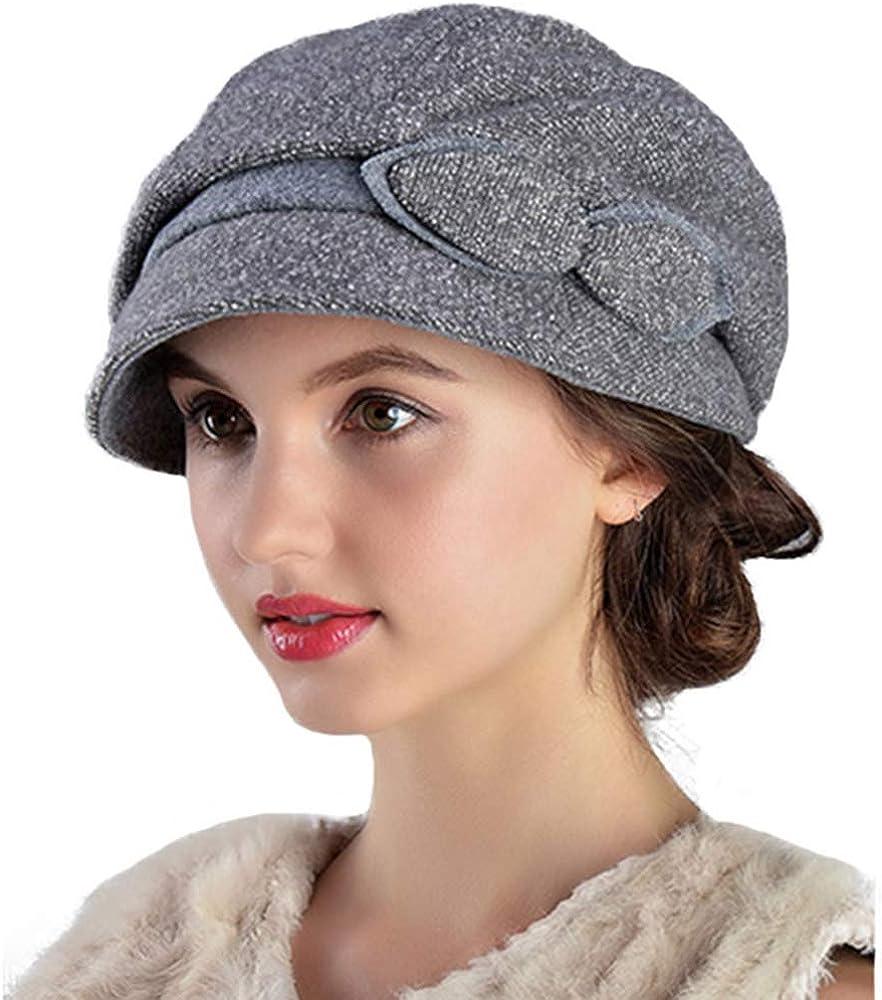 FADVES Women Visor Beret Wool Felt Cap French Artist Casual Warm Winter Hat