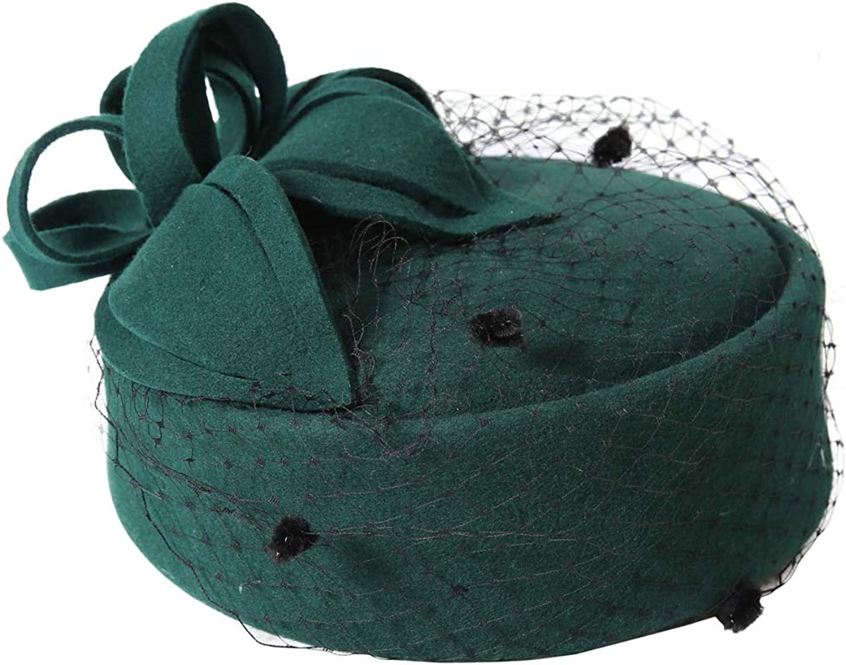 Evaliana Vintage Pillbox Hat Veil Fascinator Cap Headpiece Clip Wedding Party