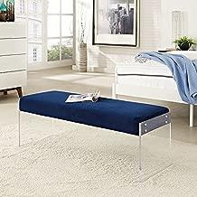 Modway Roam Modern Upholstered Bench With Acrylic Base In Navy Velvet