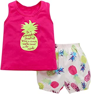 Vibola® Summer Pineapple T-Shirt Top +Shorts 2PCs Set Toddler Baby Girls Clothes