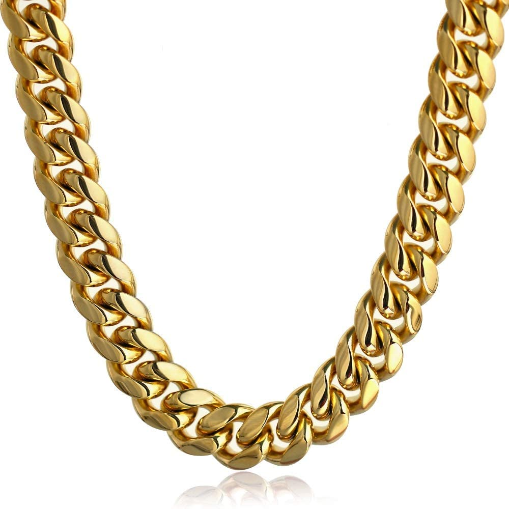 PY 上等 BLING Mens Miami Cuban Link Choker Plate Solid Gold Chain 新品未使用 18k