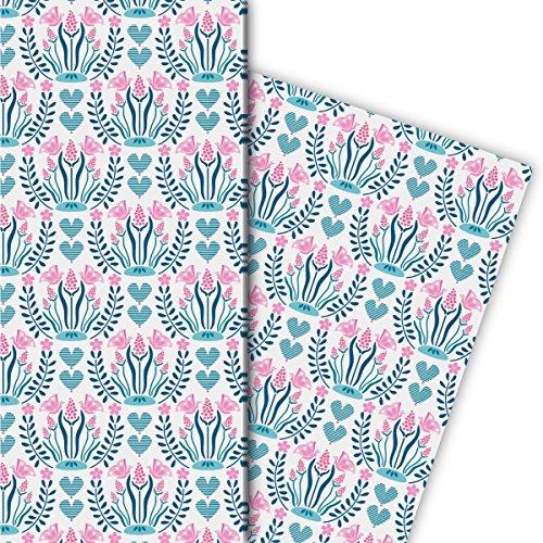 Set romantische bloemen cadeaupapier (4 vellen), decoratiepapier, papier om in te pakken met hartjes, ook voor verjaardag, roze, voor leuke cadeauverpakking en verrassingen, 32 x 48 cm