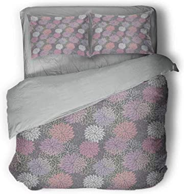 """Mademai Pink and Grey Plain Three-Piece Suit Blossom Bouquet Botanical Foliage Shabby Chic Essence Chrysanthemum Gray Comforter Queen 68""""x86""""inch Blush Lilac Grey"""