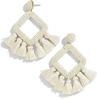 Women's Beaded Tassel Earrings Statement Fringe Drop Bohemian Chandelier Earrings Geometric Dangle for Women Daily Wear Wedding Bridal Christmas Gifts