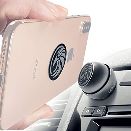 Universal Car Phone Mount Magnetic - All-Metal iPhone Car Mount for Any Smartphone or GPS - Truly One-Handed Cell Phone Holder for Car Dashboard